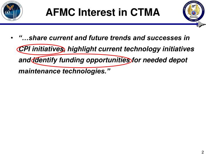 Afmc interest in ctma