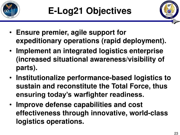 E-Log21 Objectives