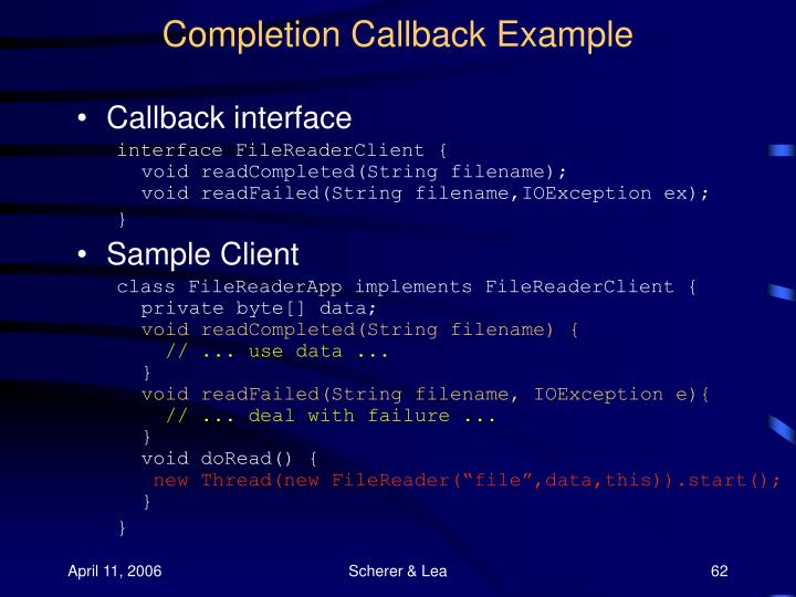 Completion Callback Example