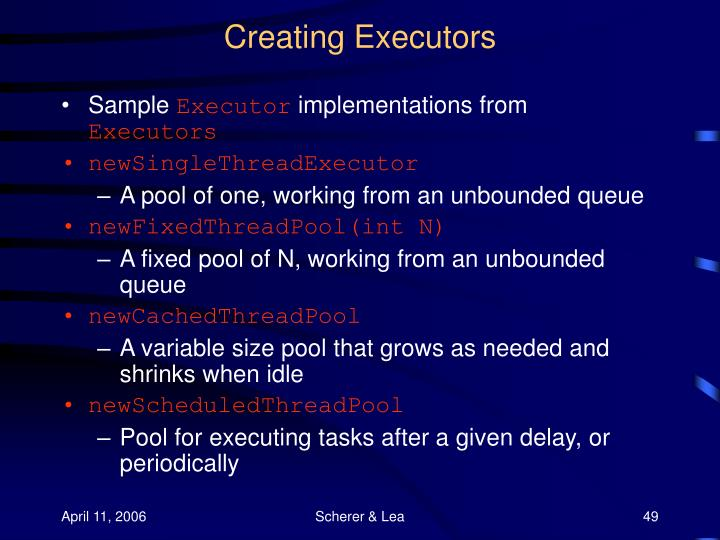 Creating Executors