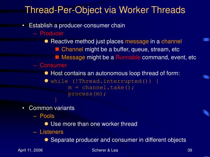 Thread-Per-Object via Worker Threads