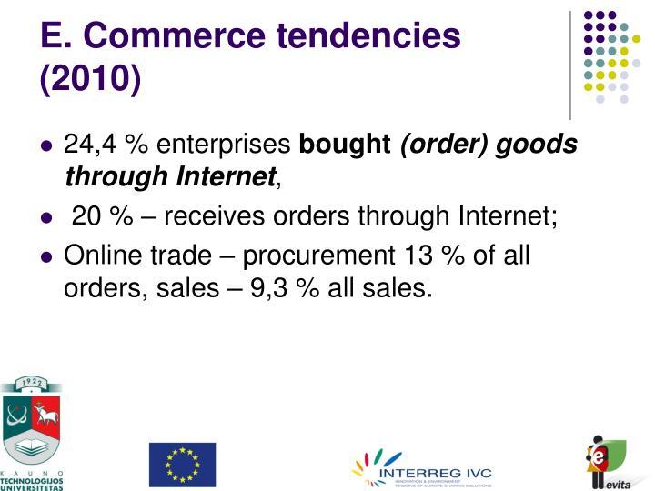 E. Commerce tendencies (2010)