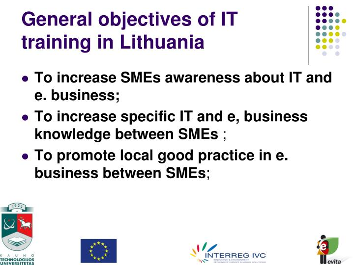 General objectives of IT training in Lithuania