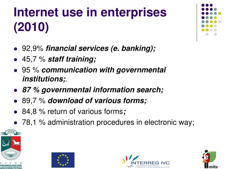 Internet use in enterprises