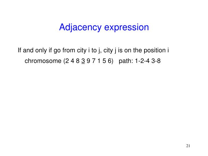 Adjacency expression