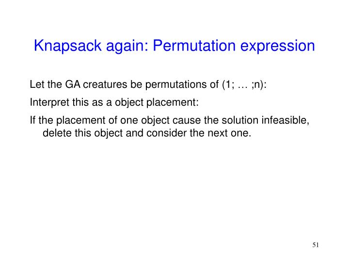 Knapsack again: Permutation expression