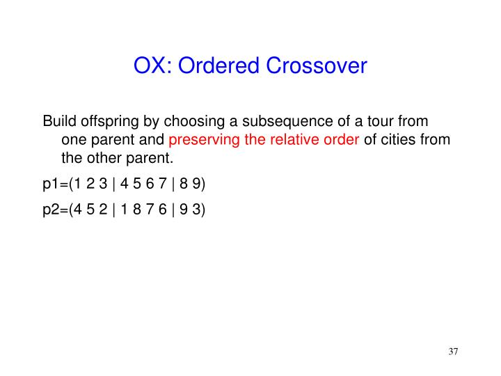 OX: Ordered Crossover