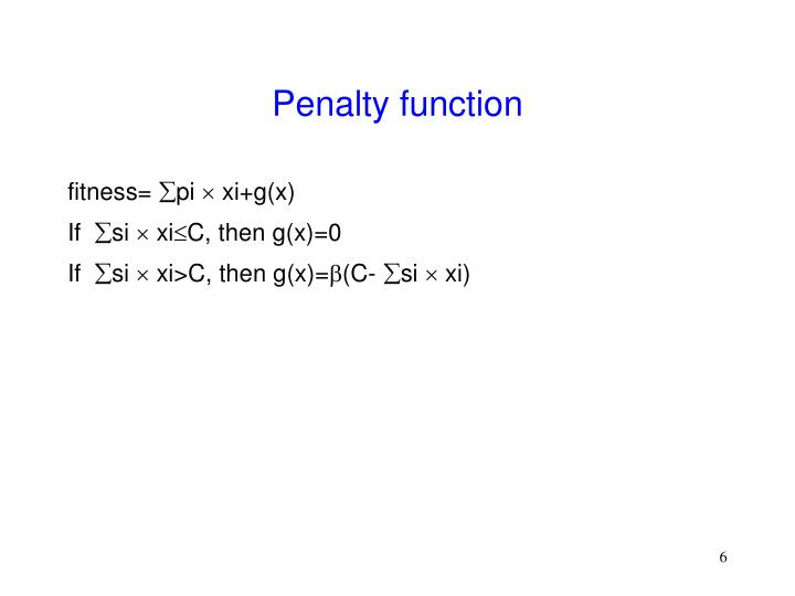 Penalty function