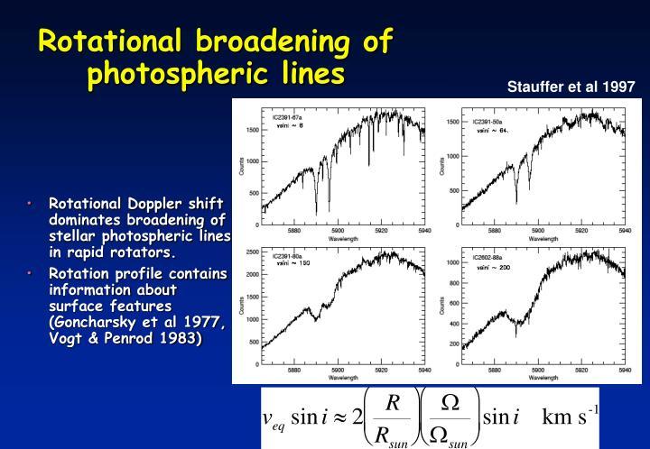 Rotational broadening of photospheric lines