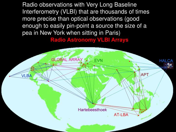 Radio observations with Very Long Baseline Interferometry (VLBI) that are thousands of times more precise than optical observations (good enough to easily pin-point a source the size of a pea in New York when sitting in Paris)