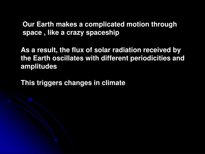 Our Earth makes a complicated motion through space , like a crazy spaceship