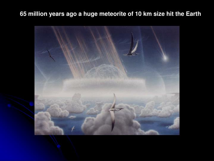 65 million years ago a huge meteorite of 10 km size hit the Earth