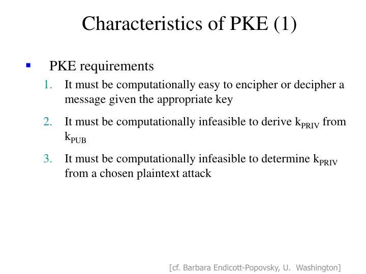 Characteristics of PKE (1)