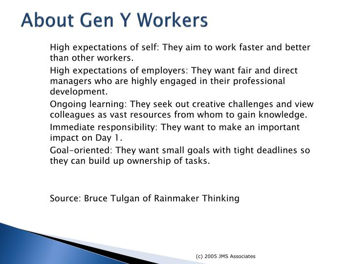 About Gen Y Workers