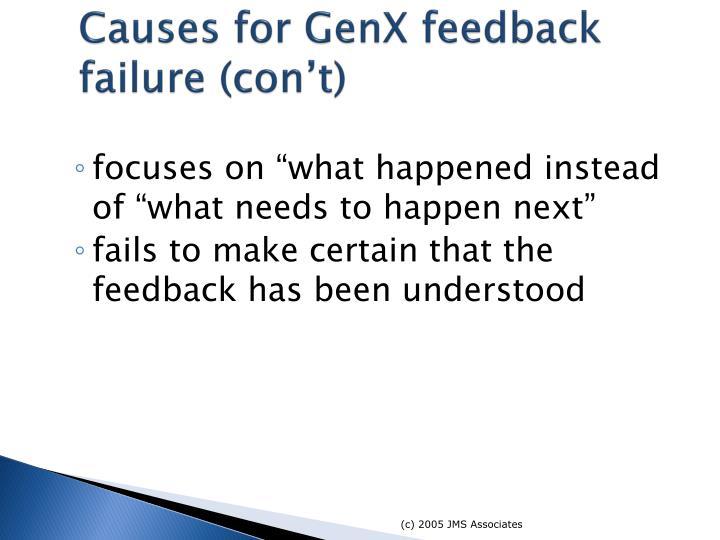 Causes for GenX feedback failure (con't)