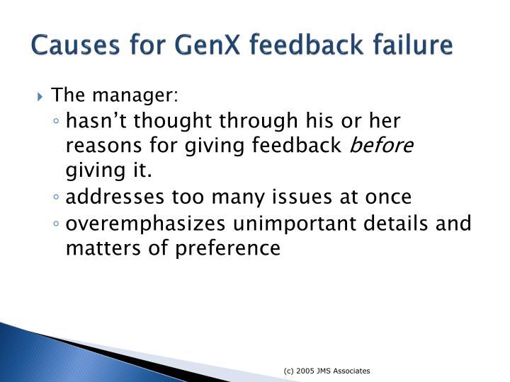 Causes for GenX feedback failure