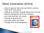 silent generation artist