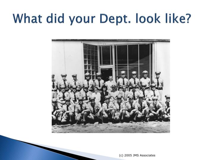 What did your Dept. look like?
