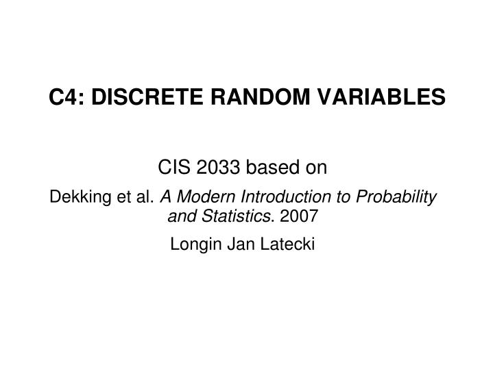 c4 discrete random variables