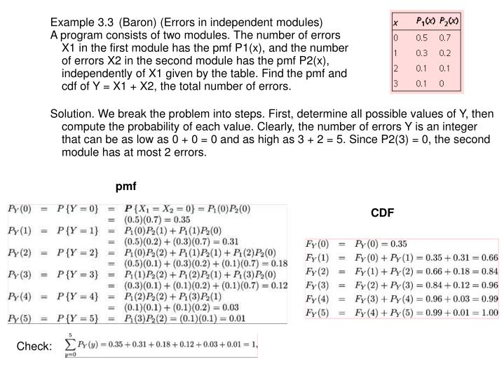 Example 3.3 (Baron) (Errors in independent modules)