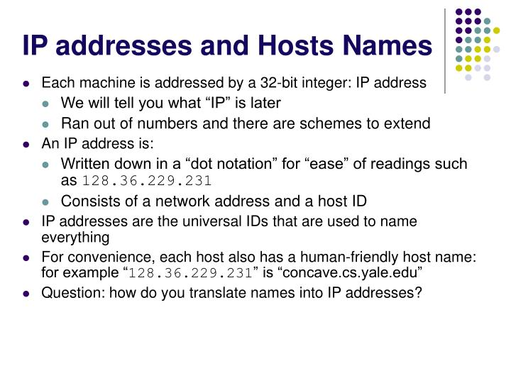 IP addresses and Hosts Names