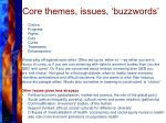 core themes issues buzzwords