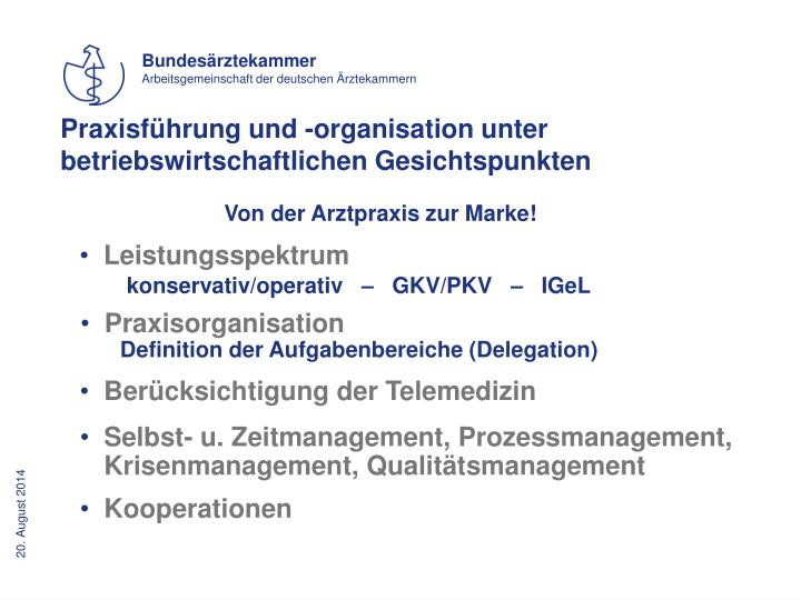 Praxisführung und -organisation unter