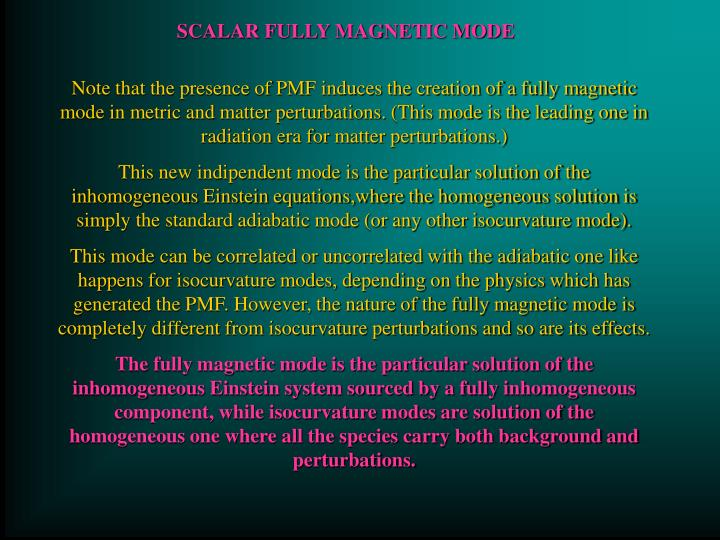 SCALAR FULLY MAGNETIC MODE