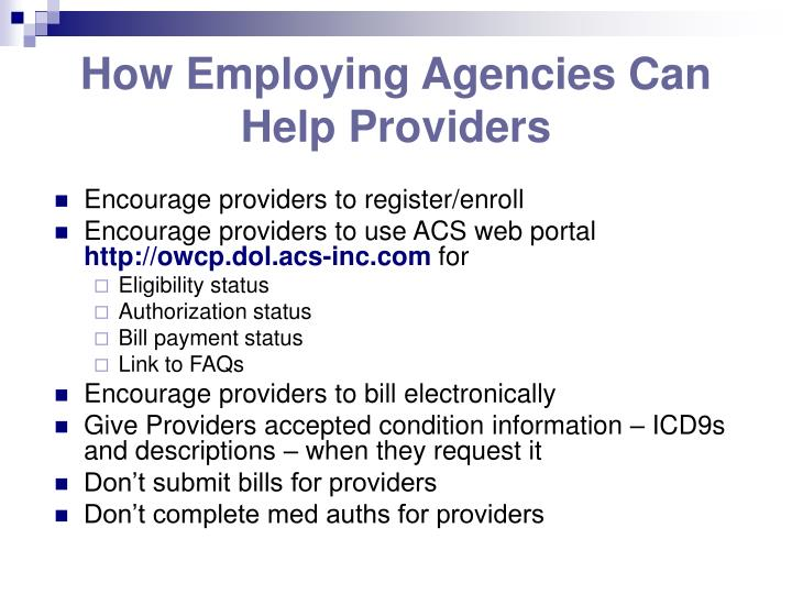 How Employing Agencies Can Help Providers