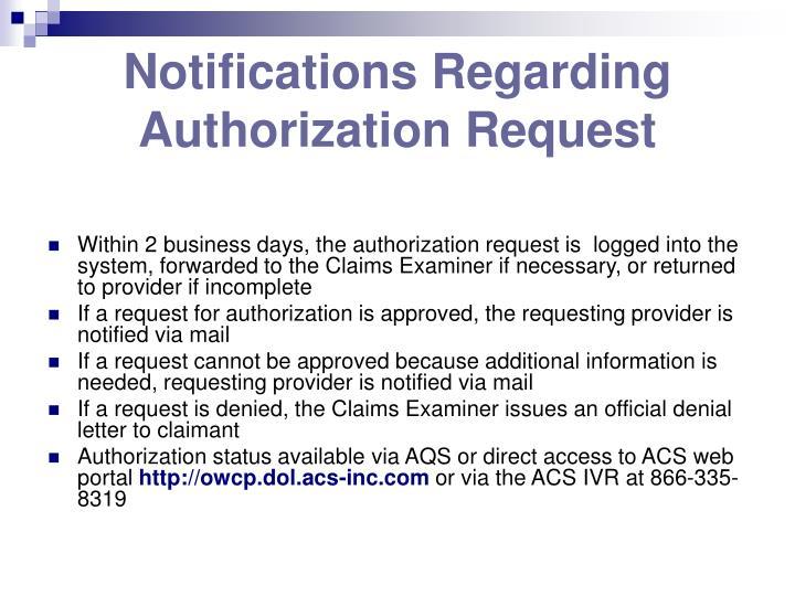 Notifications Regarding Authorization Request