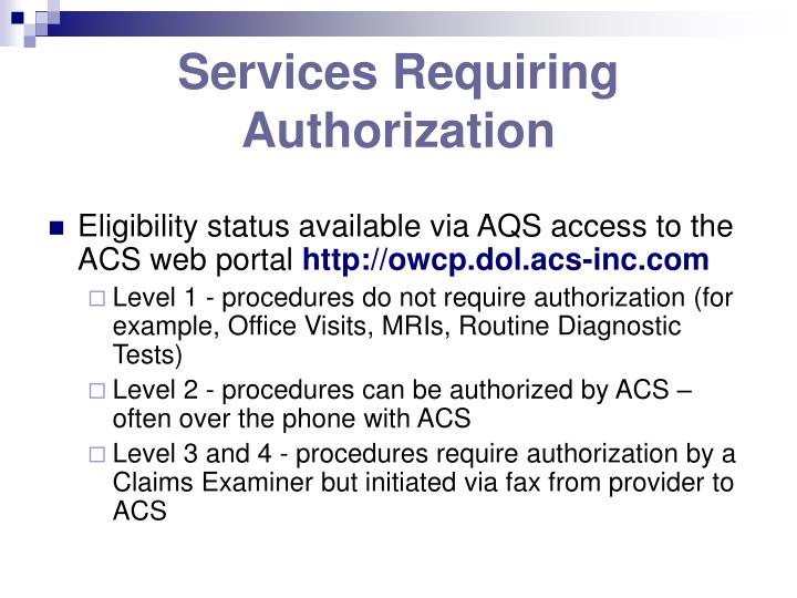 Services Requiring Authorization