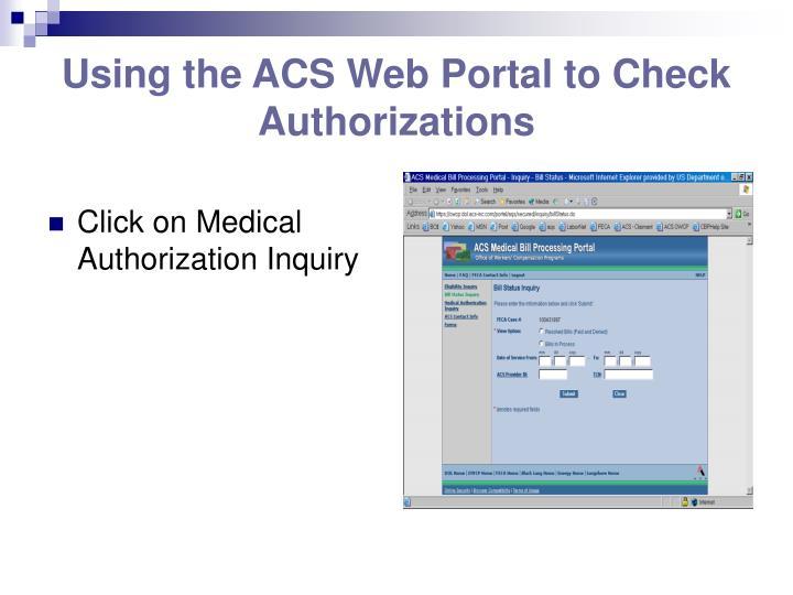 Using the ACS Web Portal to Check Authorizations