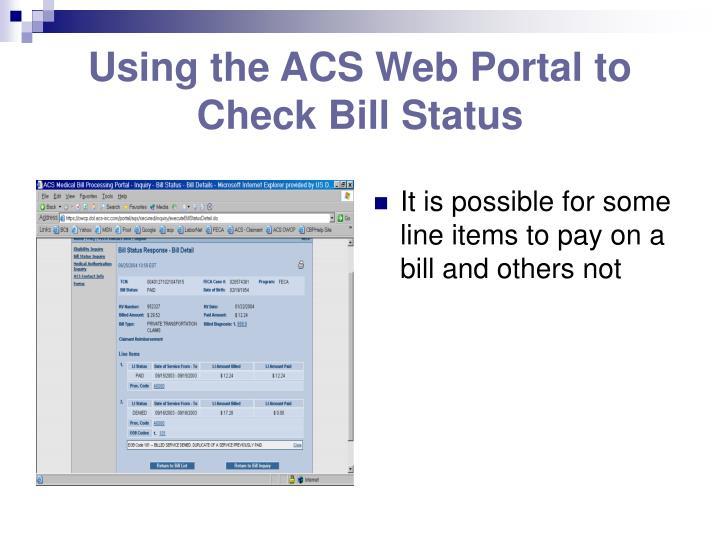 Using the ACS Web Portal to Check Bill Status