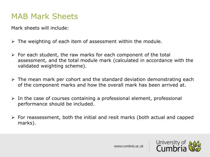 MAB Mark Sheets
