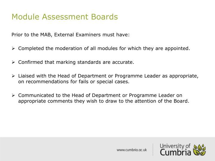 Module Assessment Boards