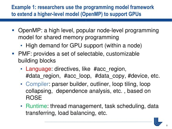 Example 1: researchers use the programming model framework to extend a higher-level model (OpenMP) to support GPUs