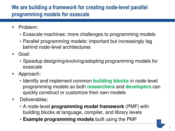We are building a framework for creating node-level parallel programming models for exascale