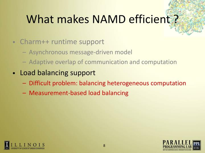 What makes NAMD efficient ?