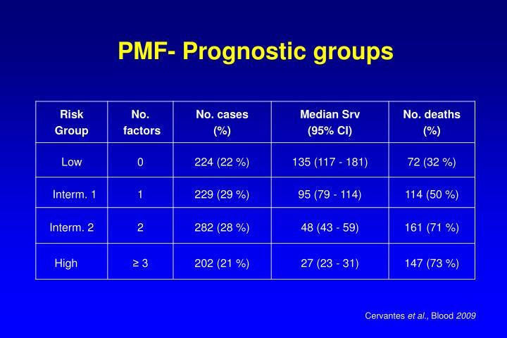 PMF- Prognostic groups