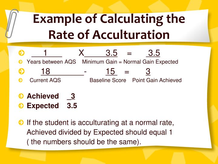 Example of Calculating the Rate of Acculturation