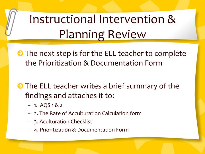 Instructional Intervention & Planning Review