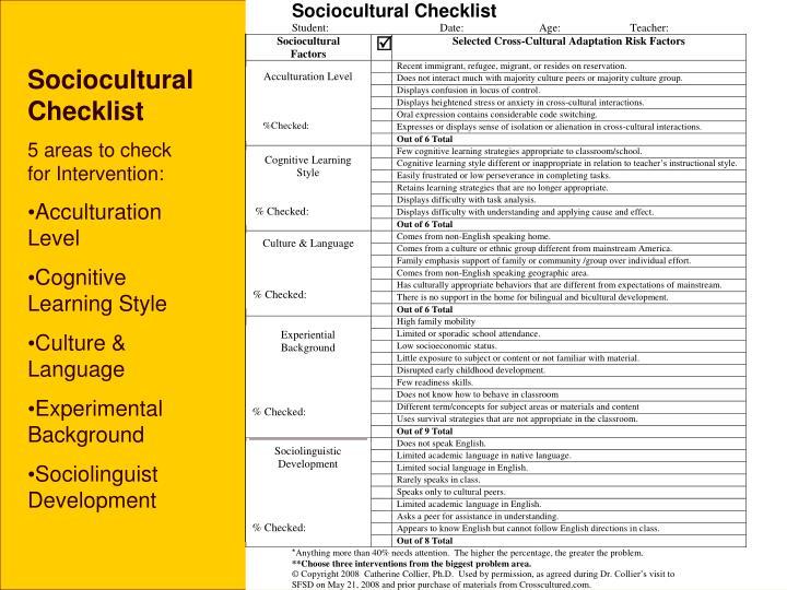 Sociocultural checklist