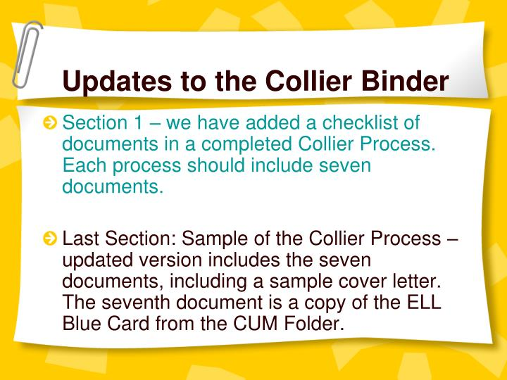 Updates to the Collier Binder