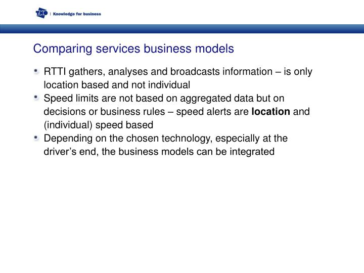 Comparing services business models