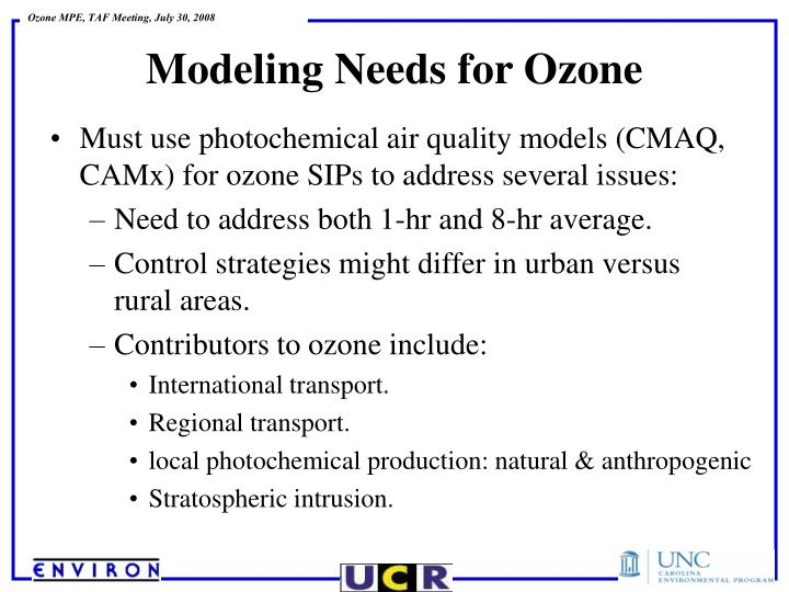 Must use photochemical air quality models (CMAQ, CAMx) for ozone SIPs to address several issues:
