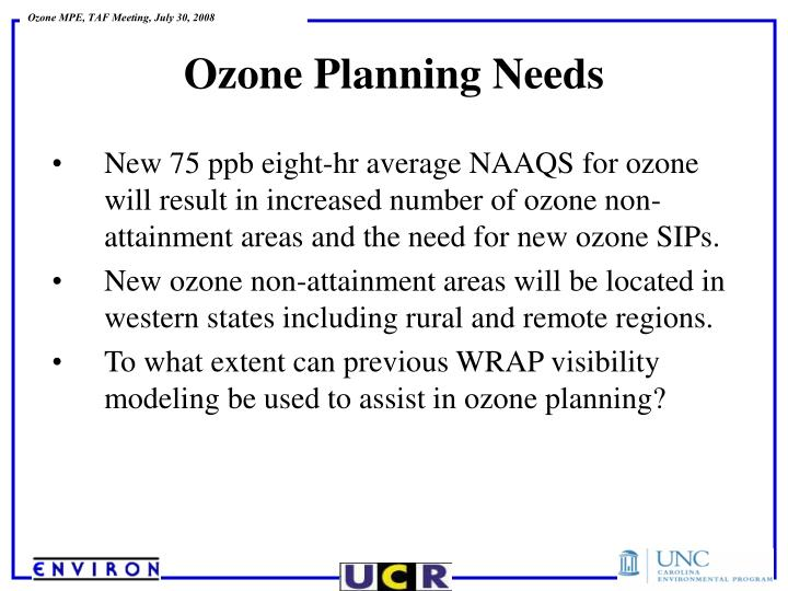 New 75 ppb eight-hr average NAAQS for ozone will result in increased number of ozone non-attainment areas and the need for new ozone SIPs.