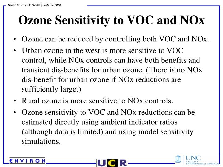 Ozone can be reduced by controlling both VOC and NOx.