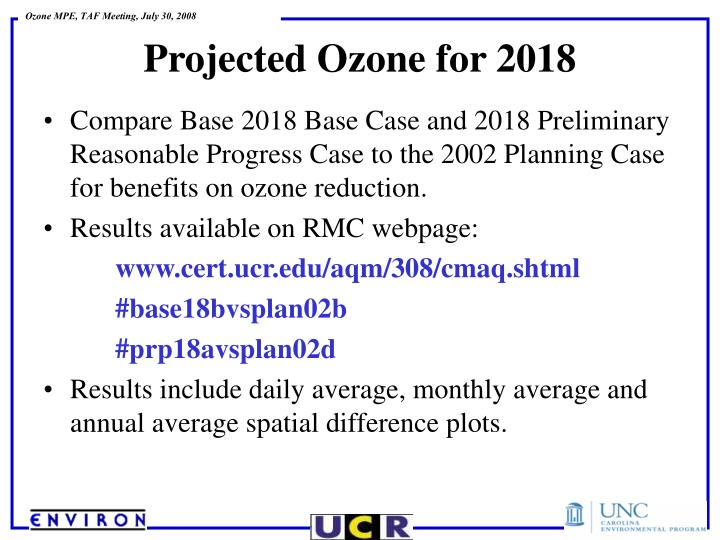 Compare Base 2018 Base Case and 2018 Preliminary Reasonable Progress Case to the 2002 Planning Case for benefits on ozone reduction.