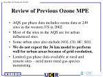 review of previous ozone mpe