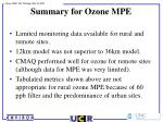 summary for ozone mpe